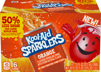 Kool-Aid Sparklers Orange Flavored Sparkling Drink 6 - 7.5 fl oz Cans image