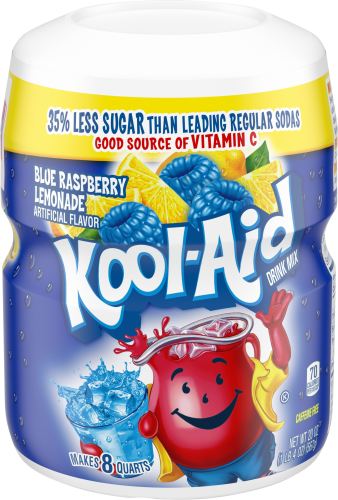 KOOL-AID Twists Ice Blue Raspberry Lemonade  Drink Mix Sugar Sweetened 20 oz Canister