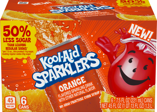 Kool-Aid Sparklers Orange Flavored Sparkling Drink 6 - 7.5 fl oz Cans