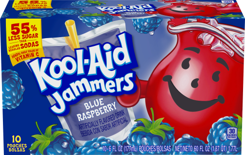 Kool-Aid Jammers Blue Raspberry Flavored Drink 60 fl oz Box (10-6 fl oz Pouches)