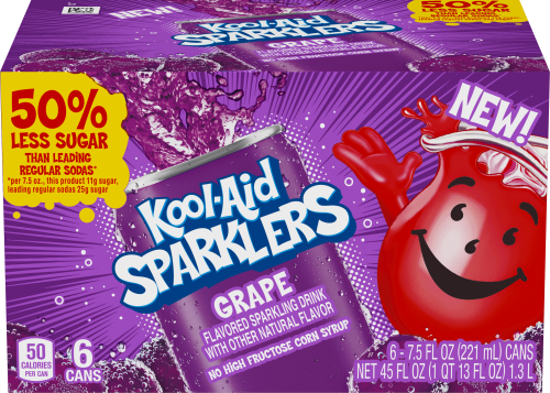 KOOL-AID 7.5 FO SPARKLERS READY TO DRINK SOFT DRINK GRAPE 4 BOX/CARTON INNER PACK