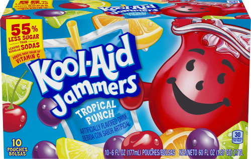 Kool-Aid Jammers Tropical Punch Flavored Drink 60 fl oz Box (10-6 fl oz Pouches)