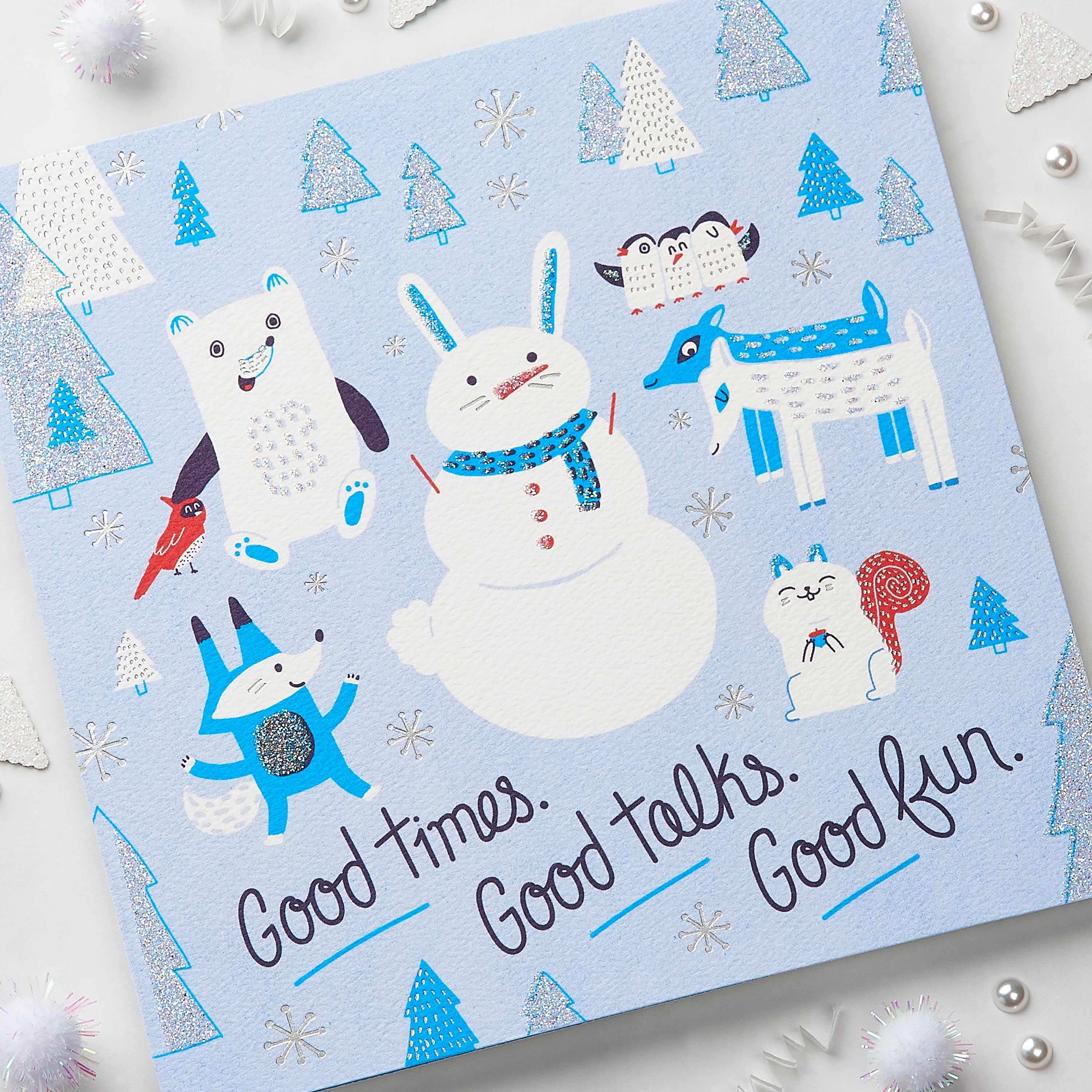 Snowmen Greeting Card - Christmas, Happy Holidays, Happy New Year, Hanukkah image