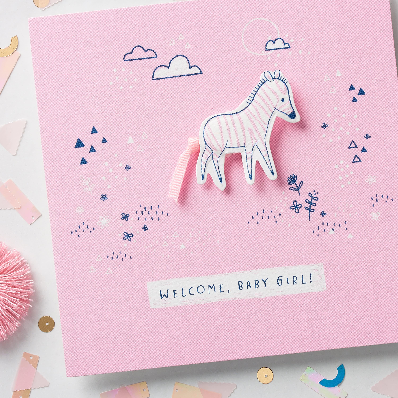 Zebra Baby Girl Congratulations Card image