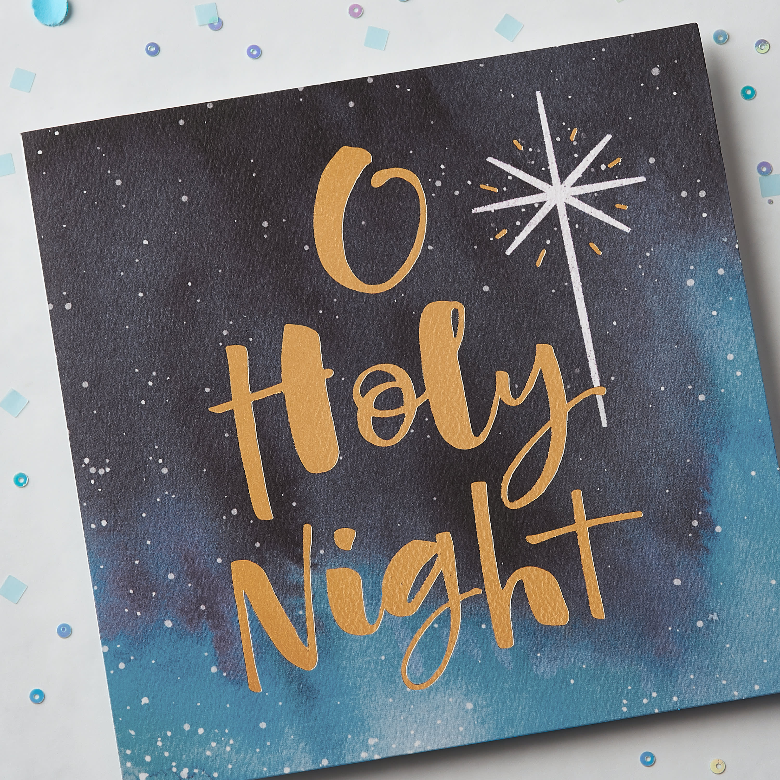 Religious Holy Night Christmas Greeting Card image