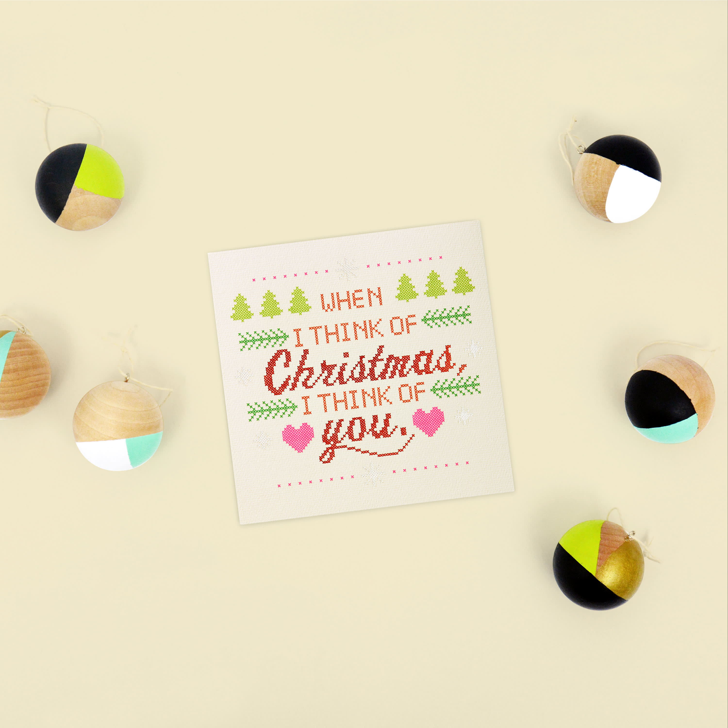 Cross-Stitch Christmas Greeting Card for Family image