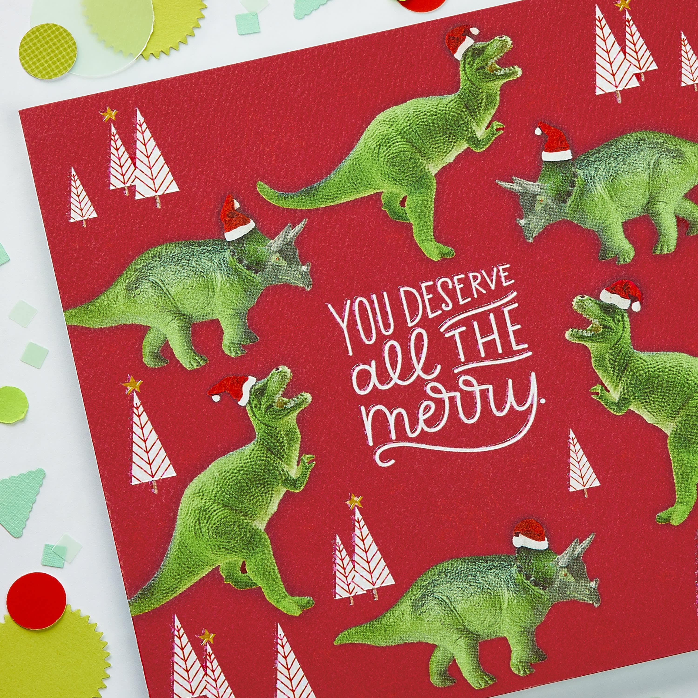 Dinosaur Money and Gift Card Holder Greeting Card - Christmas, Happy Holidays image