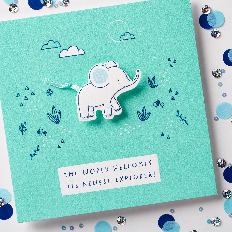 Elephant Baby Boy Congratulations Card image