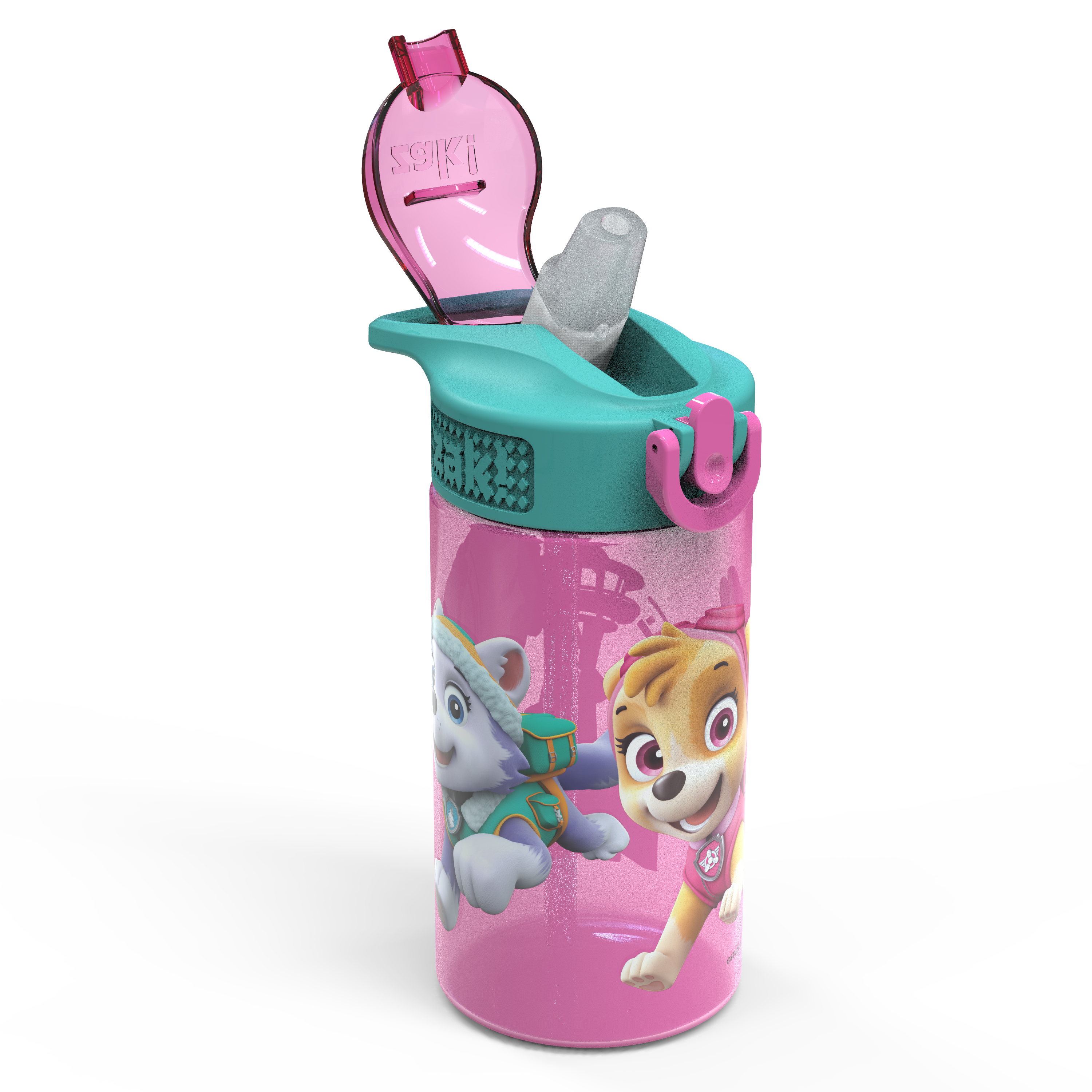 Paw Patrol 16 ounce Reusable Plastic Water Bottle with Straw, Skye, 2-piece set slideshow image 2