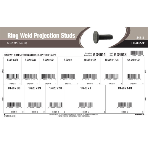 Ring Weld Projection Studs Assortment (#6-32 thru 1/4
