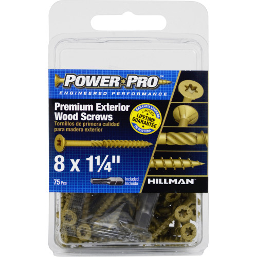 Power Pro Premium Exterior Wood Screw #8 x 1-1/4
