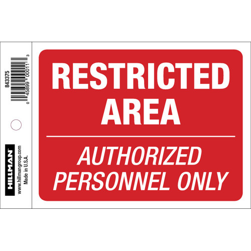 Restricted Area Sign, 4