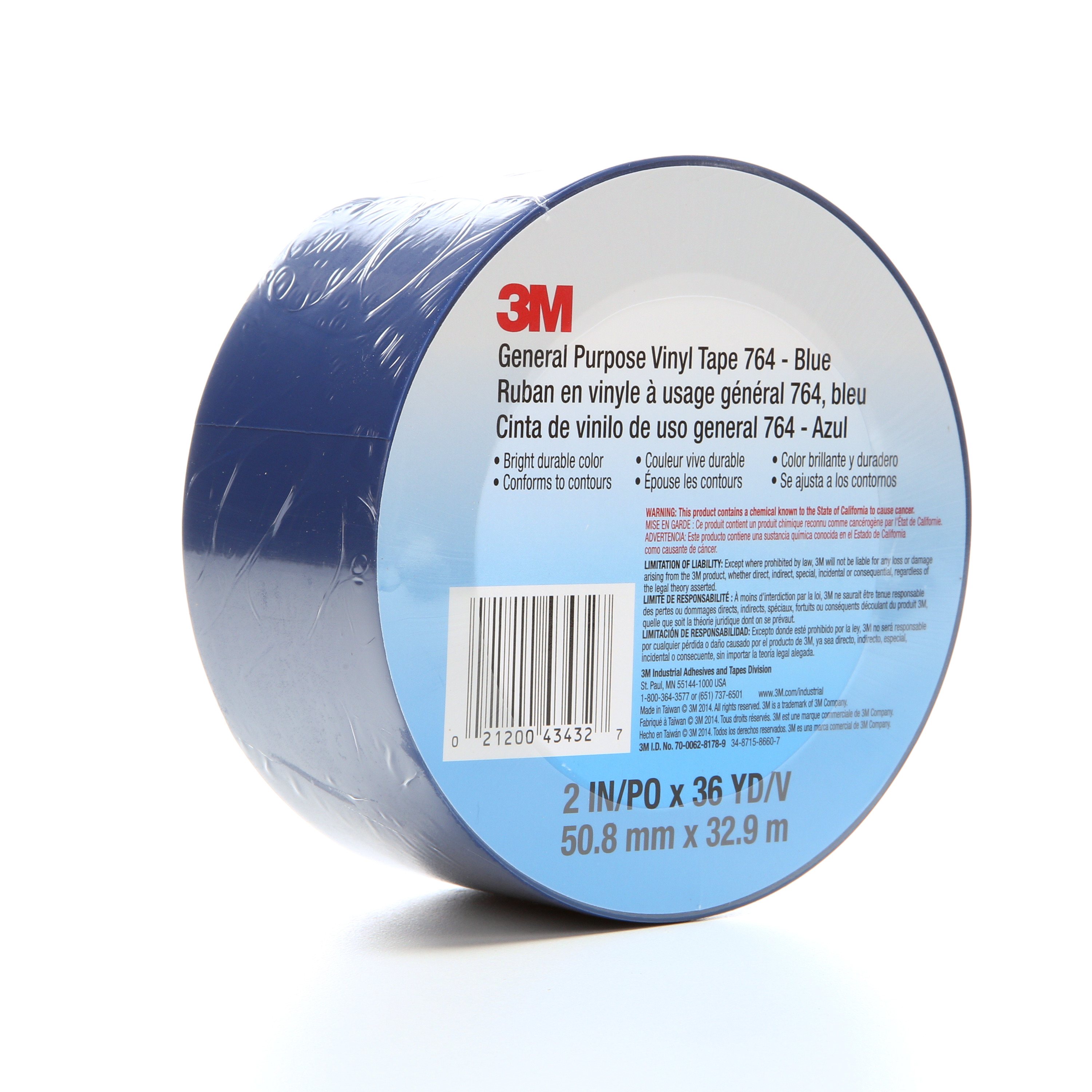 3M™ General Purpose Vinyl Tape 764, Blue, 2 in x 36 yd, 5 mil, 24 Roll/Case, Individually Wrapped Conveniently Package