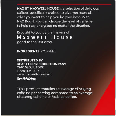 MAX Boost by Maxwell House 1.75x Caffeine Medium Roast Ground Coffee K-Cup Pods, 12 count