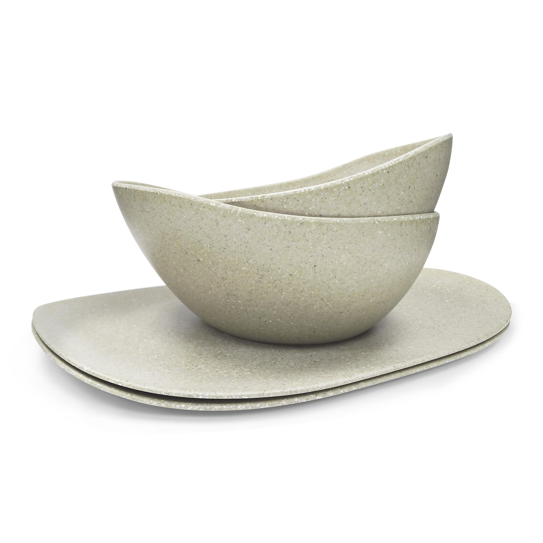 Elements Serving Tray and Bowl Set, White, 4-piece set slideshow image 1