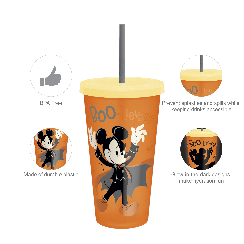 Disney 24 ounce Reusable Plastic Kids Tumbler, Mickey Mouse, 4-piece set slideshow image 4