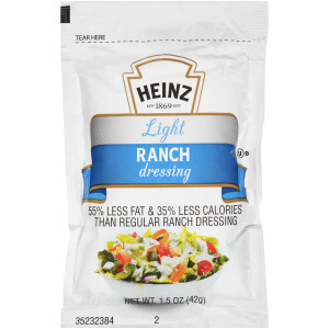 HEINZ Single Serve Light Ranch Salad Dressing, 1.5 oz. Packets (Pack of 60) image