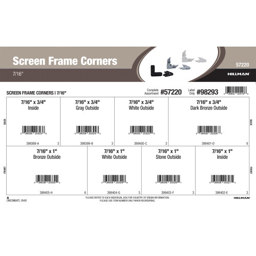 Screen Frame Corners Assortment (7/16