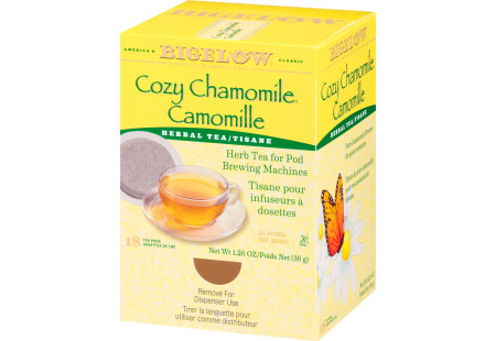 Right facing Cozy Chamomile Herbal Tea for Pod Machine tea box