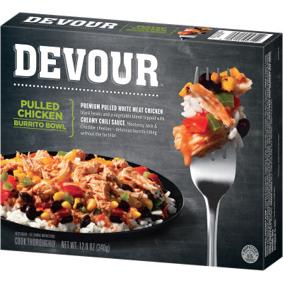 DEVOUR Pulled Chicken Burrito Bowl Frozen Meal, 12 oz Box
