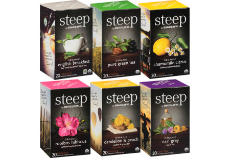 Mixed Case of 6 steep by Bigelow Organic Teas - Case of 6 boxes- total of 120 teabags