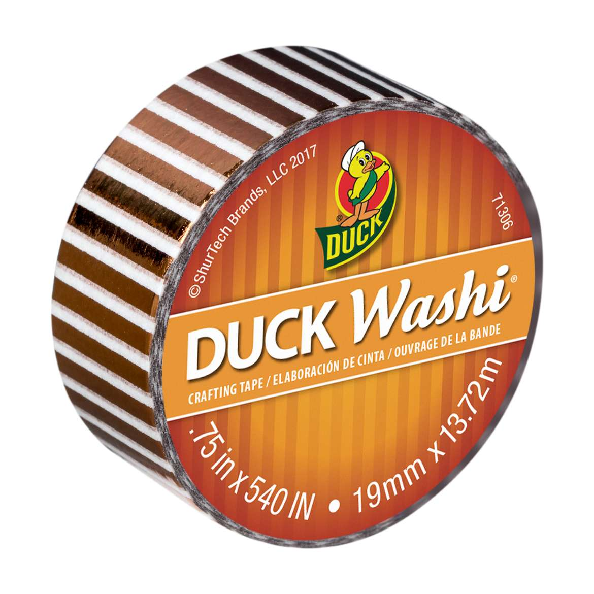 Duck Washi® Crafting Tape - Metallic Bronze Stripe, 0.75 in. X 15 yd. Image