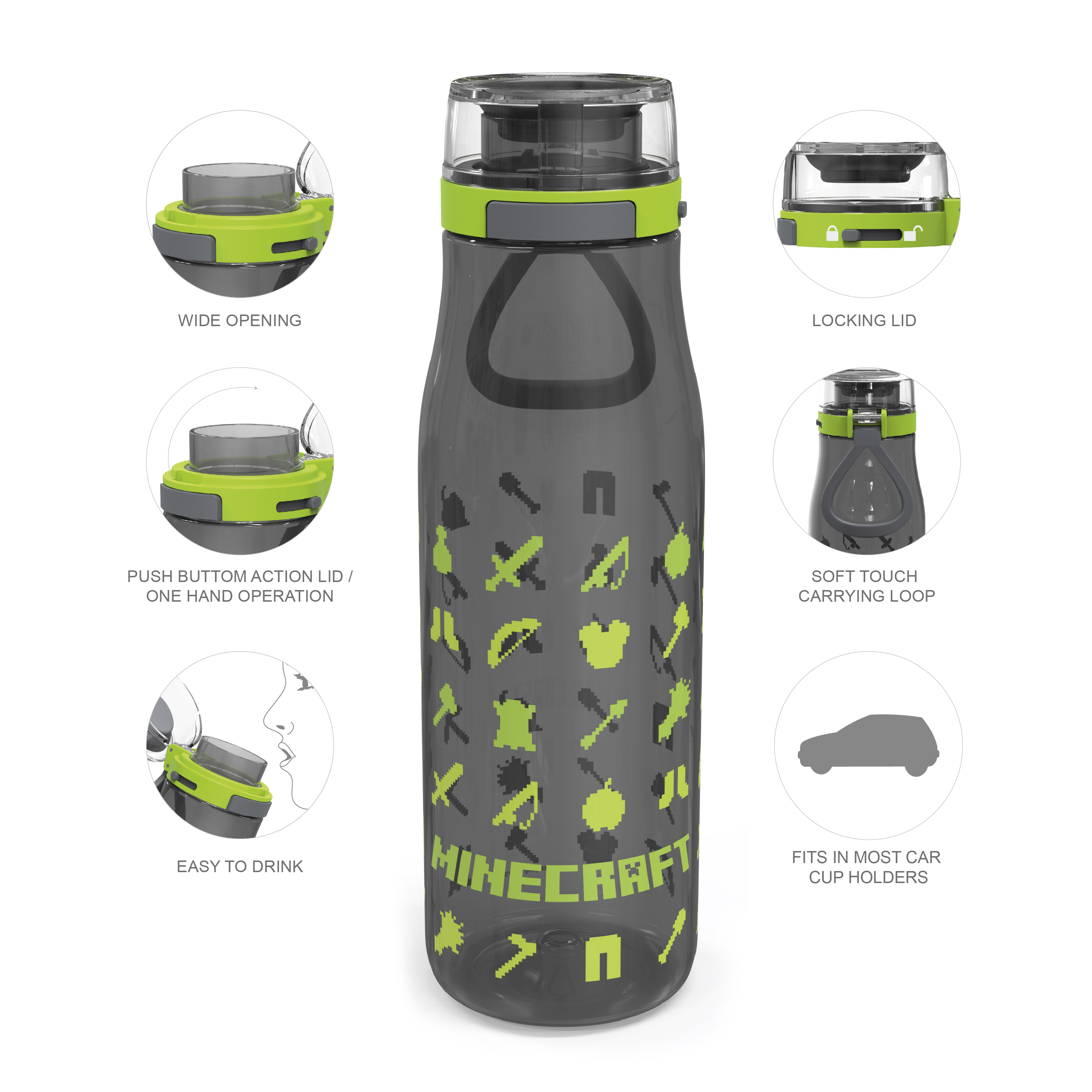 Minecraft 25 ounce Water Bottle and Straws, Weapons and Tools, 3-piece set slideshow image 6
