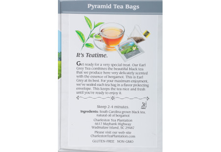 Charleston Tea Plantation Earl Grey Pyramid Bags - Case of 6 boxes- total of 72 teabags