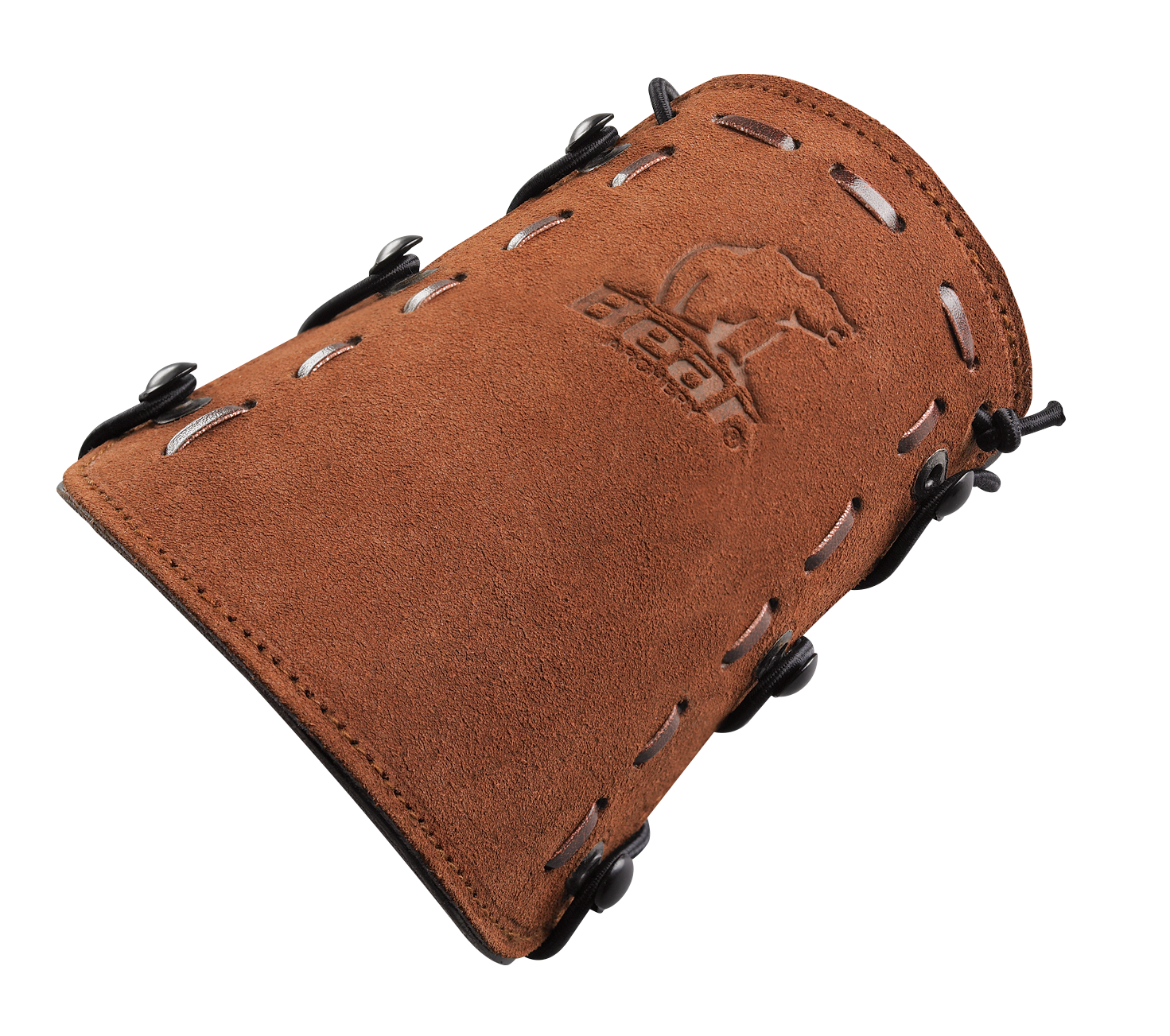 close up of Leather Bear Logo Armguard
