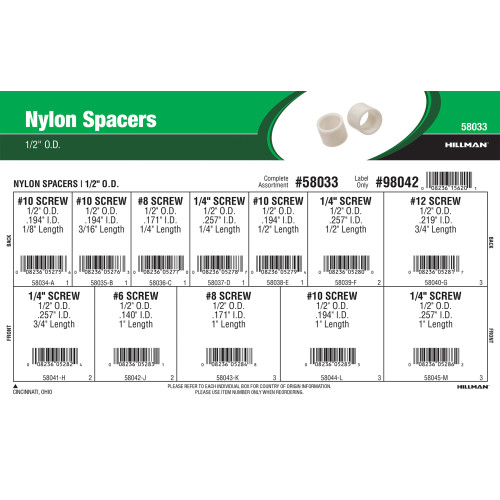Nylon Spacers Assortment (1/2