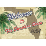 """Aluminum Welcome To The Sunshine State Sign 10"""" x 14"""""""