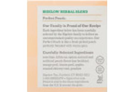 Ingredient panel of Perfect Peach Herbal Tea box