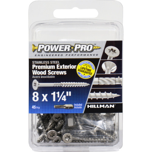 Power Pro Premium 305 Stainless Steel Wood Screw #8 x 1-1/4