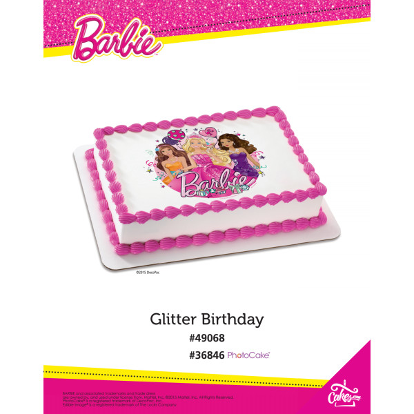 Barbie™ Glitter Birthday PhotoCake®/Edible Image® The Magic of Cakes® Page