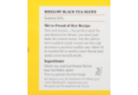 Ingredient panel  of Lemon Lift tea box