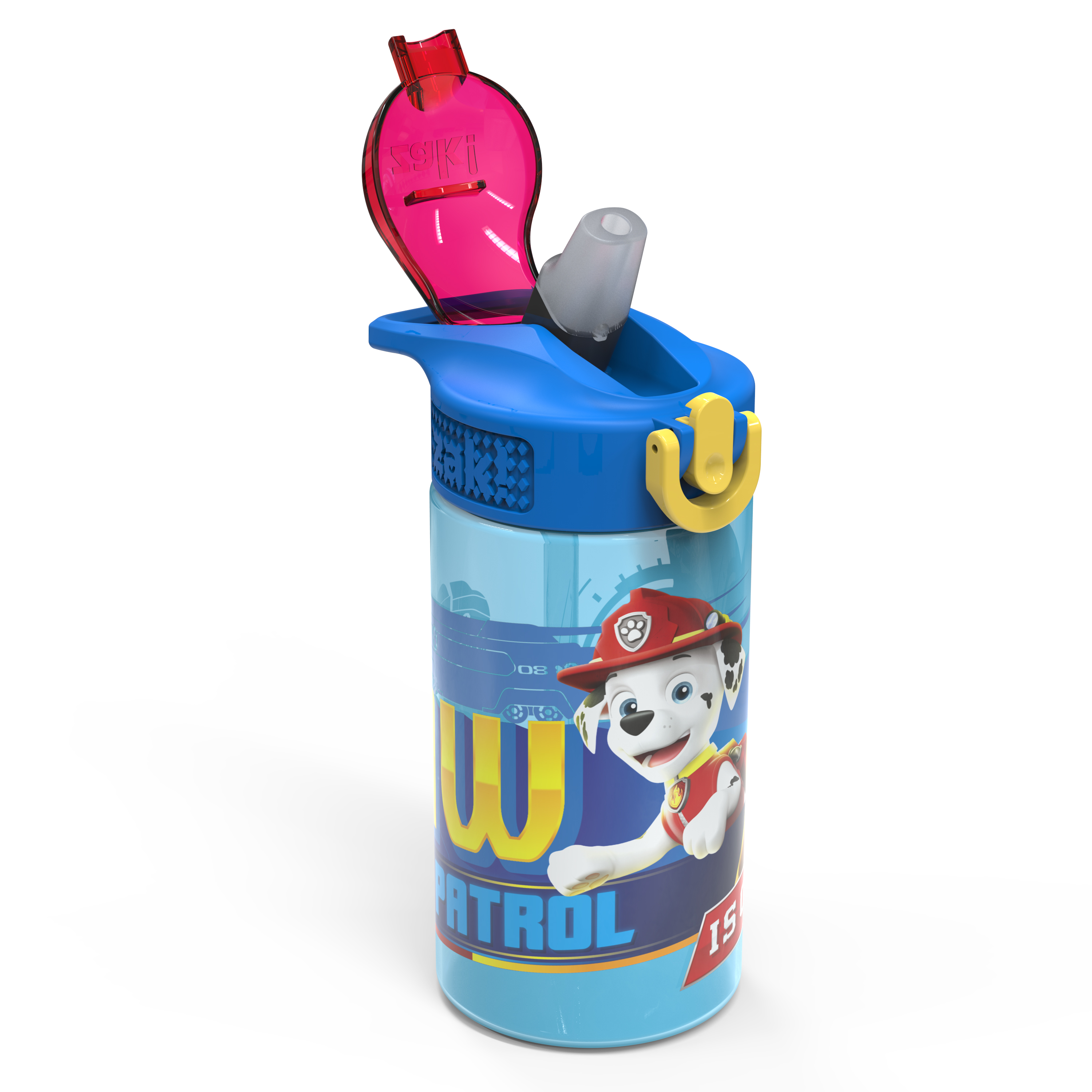 Paw Patrol 16 ounce Reusable Plastic Water Bottle with Straw, Marshall, 2-piece set slideshow image 2