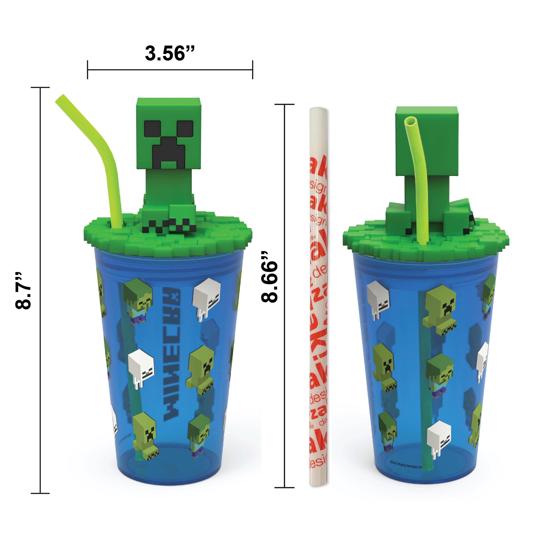Minecraft 15 ounce Kids Tumbler, Creeper, 3-piece set slideshow image 3