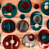 Confetti Dinner Plate, Salad Plate and Bowl Dinnerware Set, Peacock, 12-piece set slideshow image 10