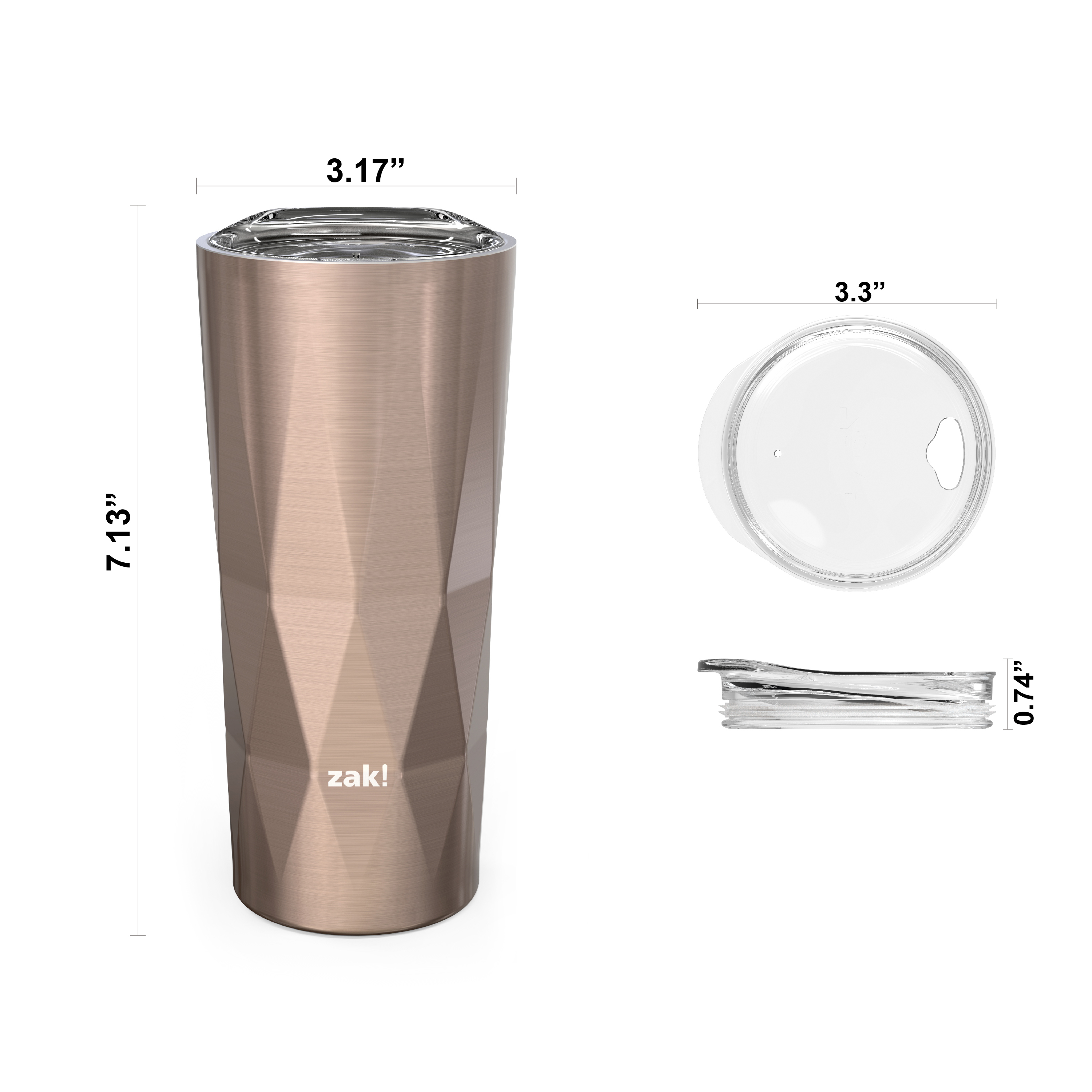 Fractal 16 ounce Vacuum Insulated Stainless Steel Tumbler, Rose Gold slideshow image 4