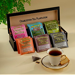 Engraved Charleston Tea Chest - total of 18 pyramid teabags