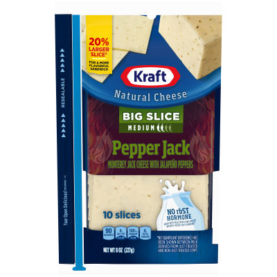 Kraft Big Slice Pepper Jack Natural Cheese Slices 10 slices - 8 oz Wrapper