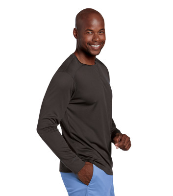 Landau Essentials Long Sleeve Under Scrub Long Sleeve Tee Shirt for Men - Classic Relaxed Fit, Crew Neck 69001-