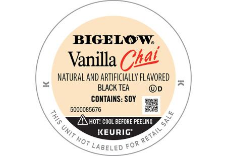Lid of Bigelow Vanilla Chai Tea K-Cups for Keurig