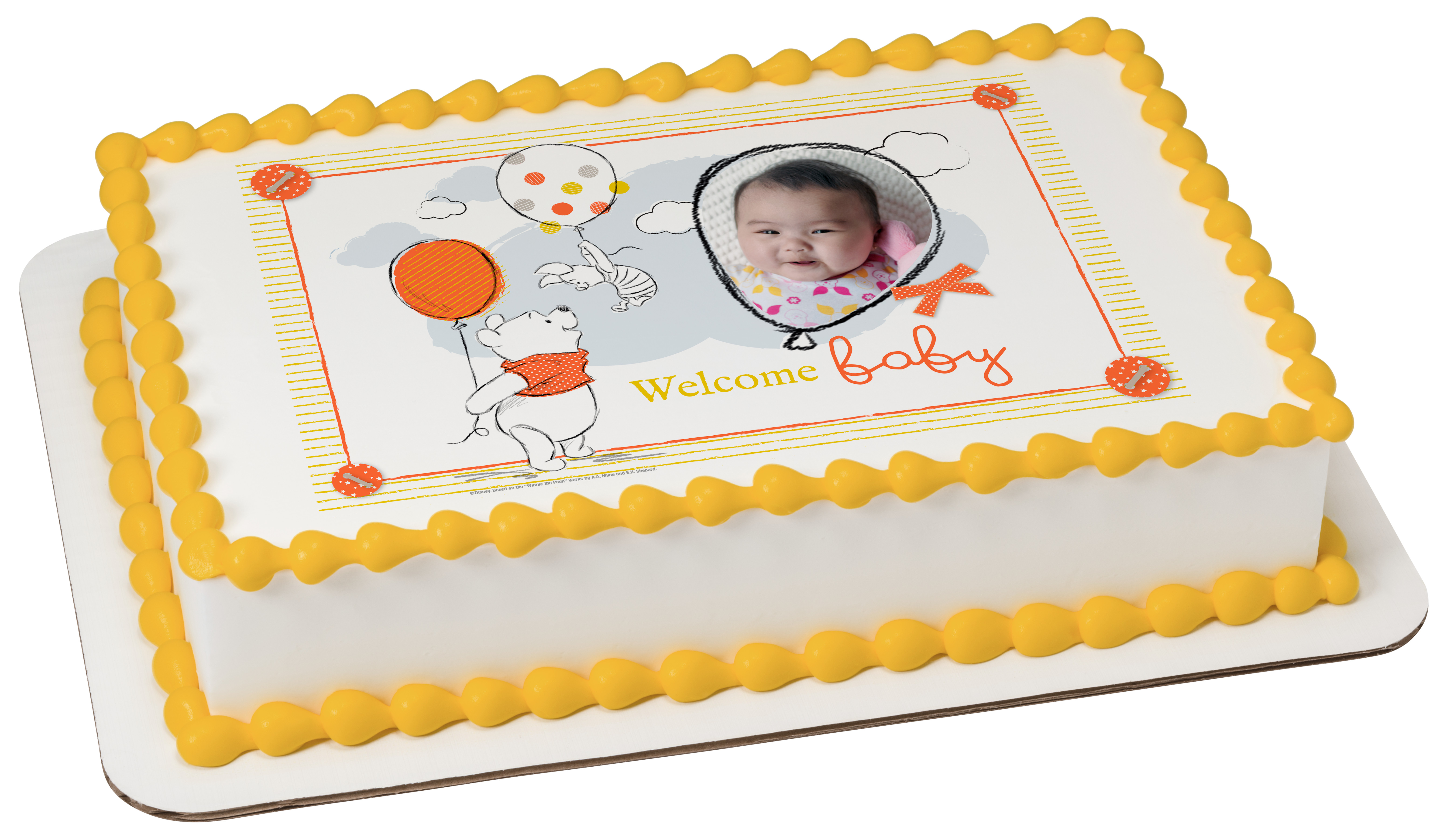 Winnie The Pooh Welcome Baby Photocake 174 Edible Image