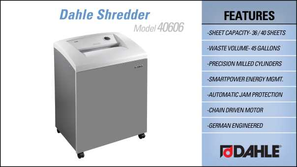 Dahle 40406 Department Shredder InfoGraphic