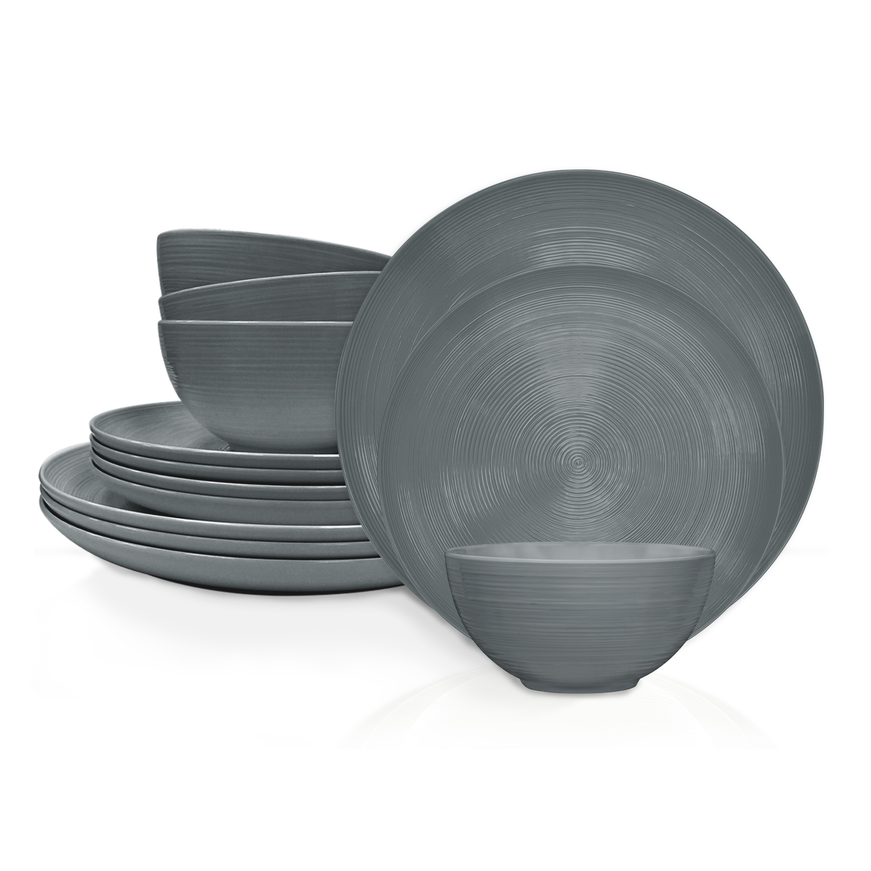 American Conventional Plate & Bowl Sets, Charcoal, 12-piece set slideshow image 2