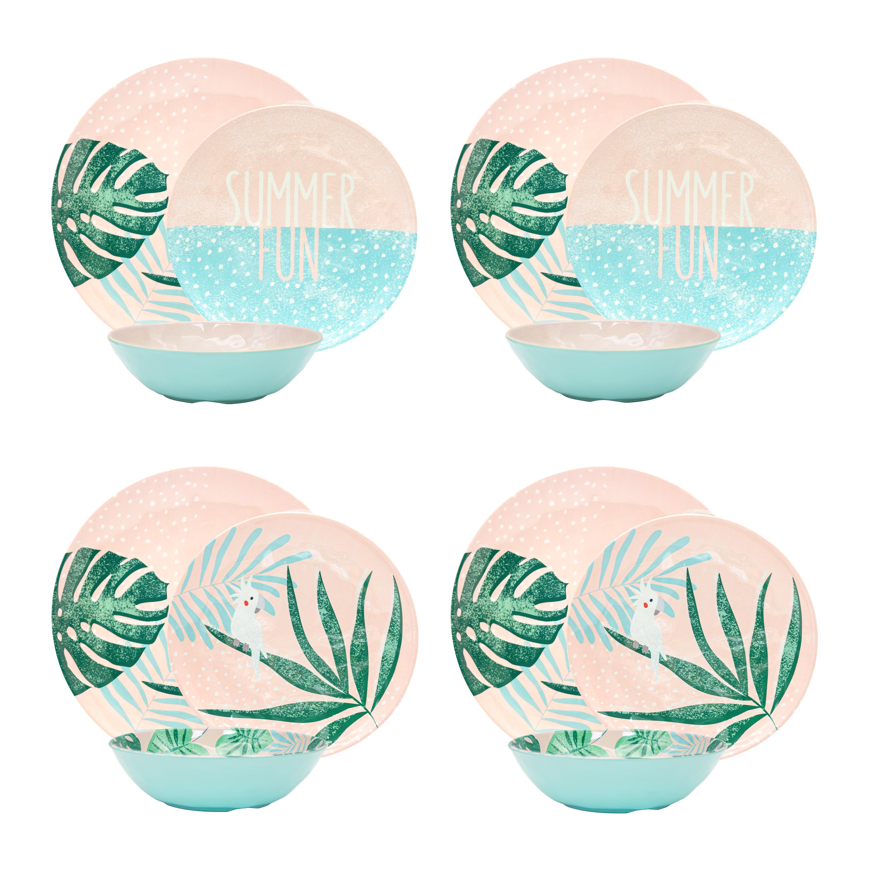 Summer Prints Dinnerware Set, Pink Tropics, 12-piece set slideshow image 9