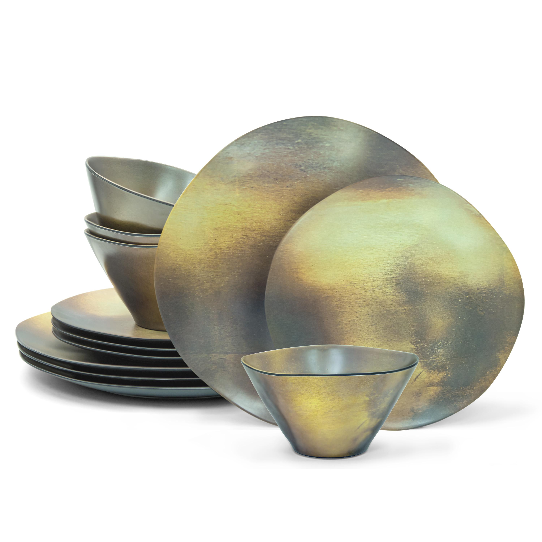 Organica Dinnerware Set, Metallic, 12-piece set slideshow image 1