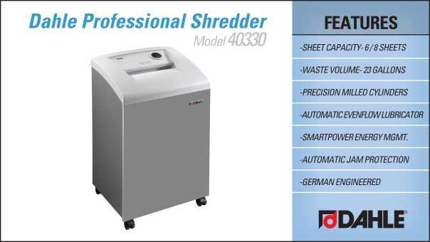 Dahle 40330 Small Office Shredder InfoGraphic