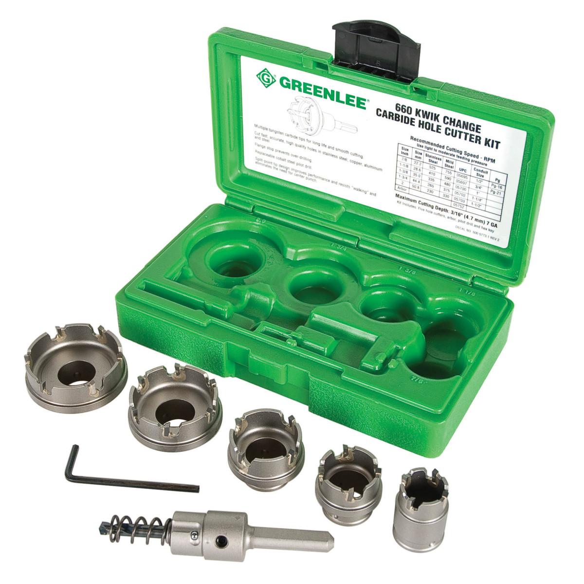 "Greenlee 660 7pc Steel Hole Cutter Kit, Carbide Tipped, 7/8"" to 2"", includes Arbor, Hex Key & Case"